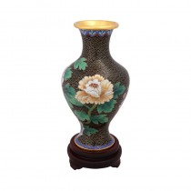 black peony cloisonne goddess of mercy bottle