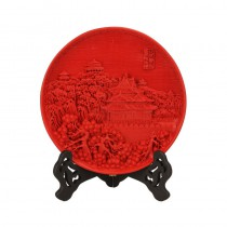 Carved lacquer 10 inch disc red Turrets red