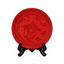 Carved lacquer disc red dragon and phoenix