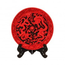 Carved lacquer 12 inch disc black Two Dragons play pearl