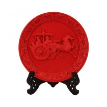 Carved lacquer disc red Han Style Chariots and horses