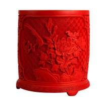 Beijing carved lacquer carved lacquerware flower brush pot