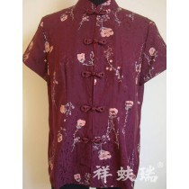 Chinese style tang suit short-sleeve silk plate buttons
