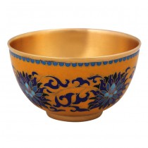 cloisonne yellow to monastery green-splashed bowls