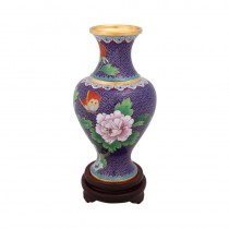 cloisonne blue peony goddess of mercy bottle