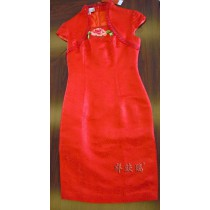 Exquisite short design red cheongsam peony rose