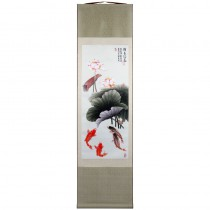 Silk colored drawing shaft painting Lotus and Fish