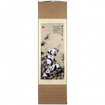 Silk colored drawing shaft painting Panda and Bamboo